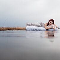 Floating On A Bed In The Lake